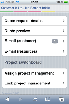 iPhone-Screenshot – Projektsteuerung